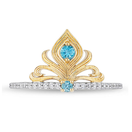 Enchanted Disney Fine Jewelry Womens 1/10 CT. T.W. Genuine Blue Topaz 14K Gold Over Silver Aladdin Cocktail Ring
