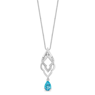 Enchanted Disney Fine Jewelry Womens 1/10 CT. T.W. Genuine Blue Topaz Sterling Silver Aladdin Pendant Necklace