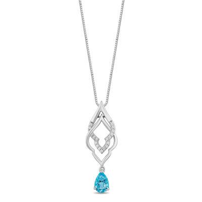 Enchanted Disney Fine Jewelry Womens 1/10 CT. T.W. Genuine Blue Topaz Sterling Silver Aladdin Pendant Necklace