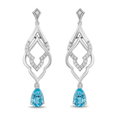 Enchanted Disney Fine Jewelry 1/10 CT. T.W. Genuine Blue Topaz Aladdin Drop Earrings