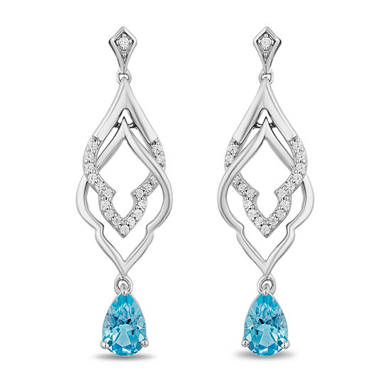 Enchanted Disney Fine Jewelry 1/10 CT. T.W. Genuine Blue Topaz Sterling Silver Aladdin Drop Earrings