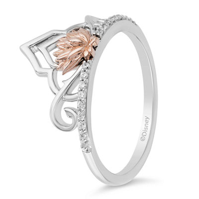 Enchanted Disney Fine Jewelry Womens 1/10 CT. T.W. Genuine Diamond 14K Rose Gold Over Silver Crown Aladdin Cocktail Ring