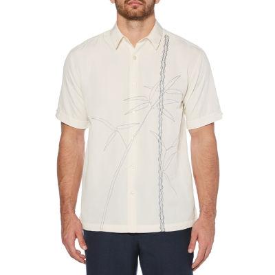 Cubavera Mens Short Sleeve Leaf Button-Front Shirt