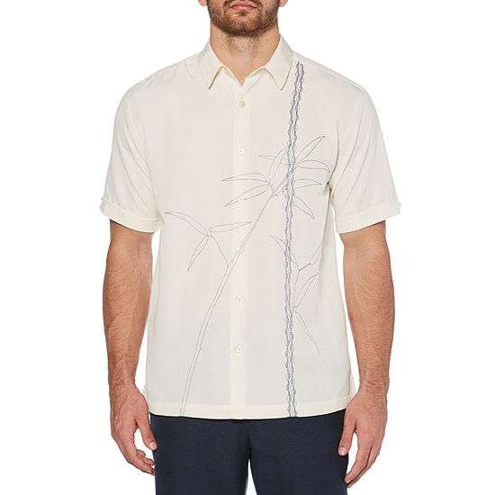 Cubavera Mens Short Sleeve Leaf Button-Front Shirt