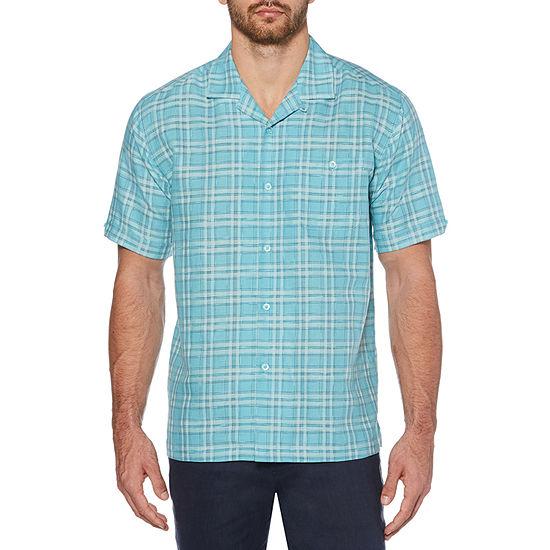 Cubavera Mens Short Sleeve Plaid Button-Front Shirt