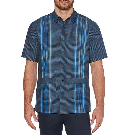 Cubavera Mens Short Sleeve Panel Button-Front Shirt