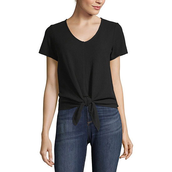 Vanilla Star Womens V Neck Short Sleeve Knit Blouse-Juniors