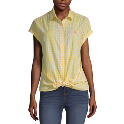 U.S. Polo Assn. Womens Sleeveless Poplin Blouse-Juniors