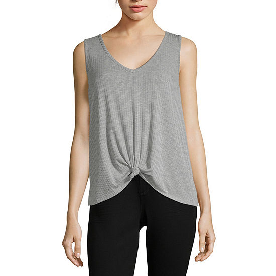 Cut And Paste Womens V Neck Sleeveless Tank Top Juniors