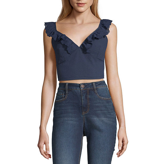 Society And Stitch Womens V Neck Sleeveless Blouse-Juniors
