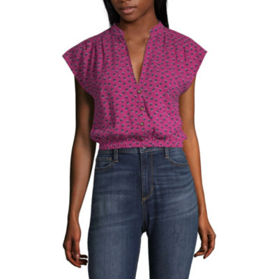 Society And Stitch Womens V Neck Short Sleeve Blouse-Juniors