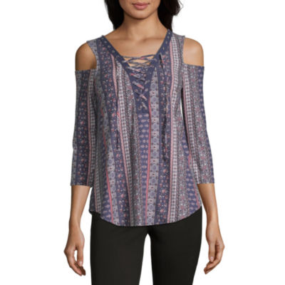 by&by Womens V Neck Long Sleeve Knit Blouse-Juniors