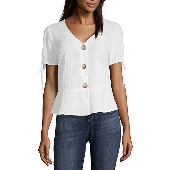 by&by Womens V Neck Short Sleeve Peplum Top Juniors