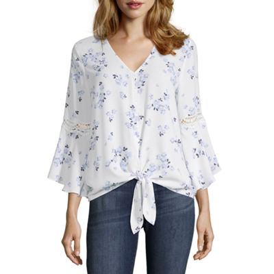 by&by Womens V Neck 3/4 Sleeve Blouse-Juniors