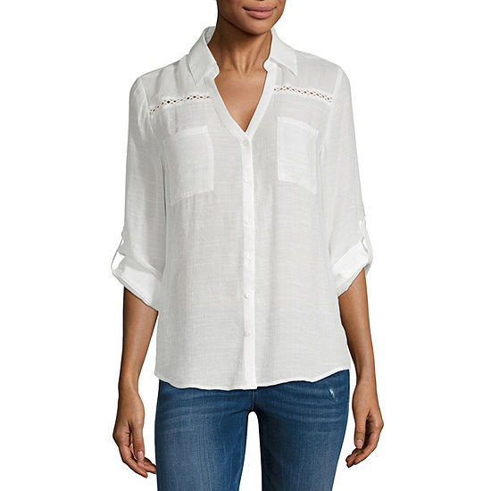 by&by-Juniors Womens Short Sleeve Blouse