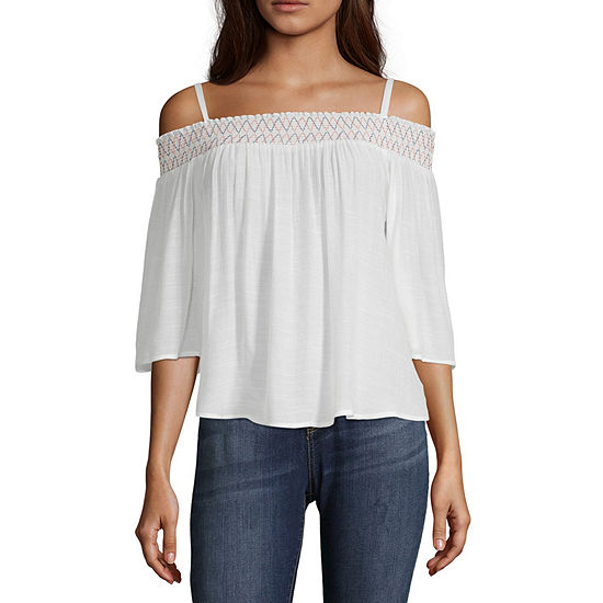 by&by-Juniors Womens Boat Neck Elbow Sleeve Blouse
