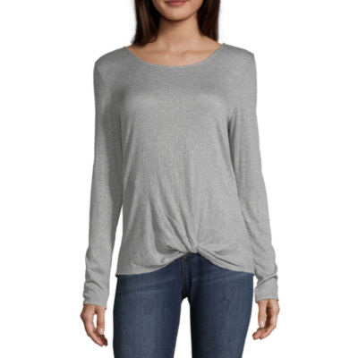 by&by Womens Scoop Neck Long Sleeve Knit Dress Shirt-Juniors