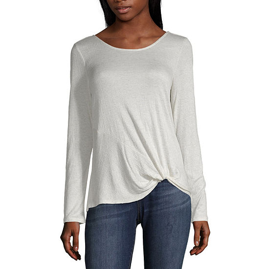 by&by Scoop Neck Long Sleeve Twist Top-Juniors