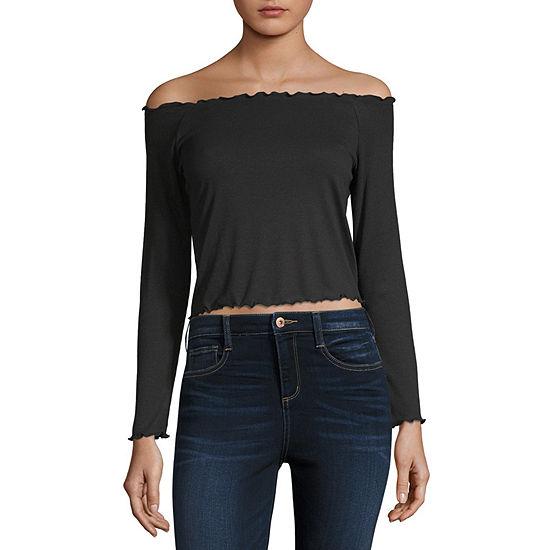 Arizona Womens Straight Neck Long Sleeve T Shirt Juniors