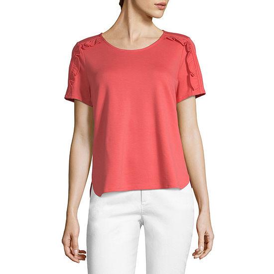 4e30ff63032e4 Liz Claiborne-Womens Round Neck Short Sleeve T-Shirt Petite