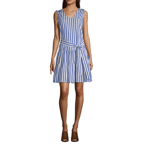 Liz Claiborne Ibiza Waves Sleeveless Striped A Line Dress