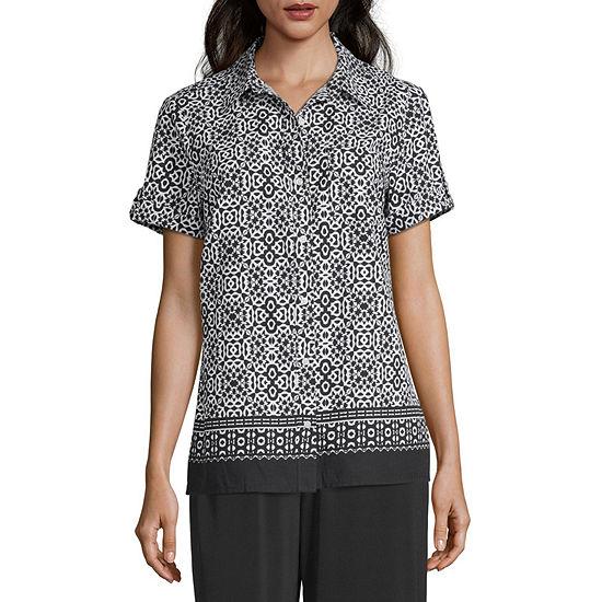 east 5th Womens Short Sleeve Button-Front Shirt