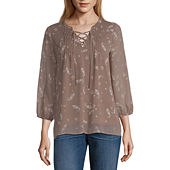 c9f3f3771d45d St. John s Bay Womens Split Crew Neck 3 4 Sleeve Blouse-Petite