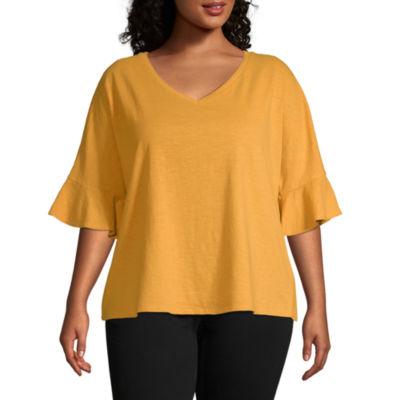 a.n.a Womens 3/4 Split Sleeve T-Shirt - Plus