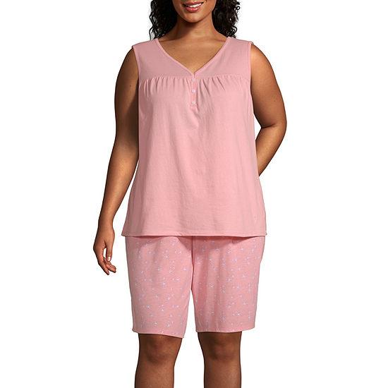 Adonna Womens-Plus Shorts Pajama Set 2-pc. Short Sleeve