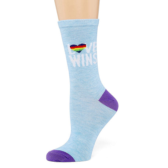Mixit Pride Love Wins 1 Pair Crew Socks - Womens
