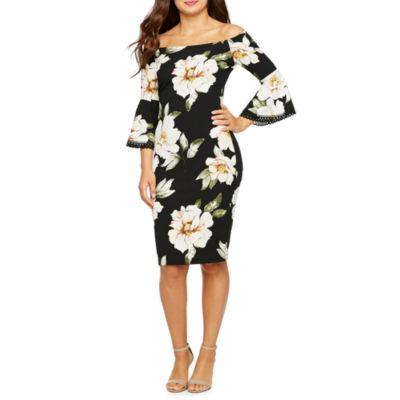 Premier Amour 3/4 Bell Sleeve Off The Shoulder Floral Sheath Dress