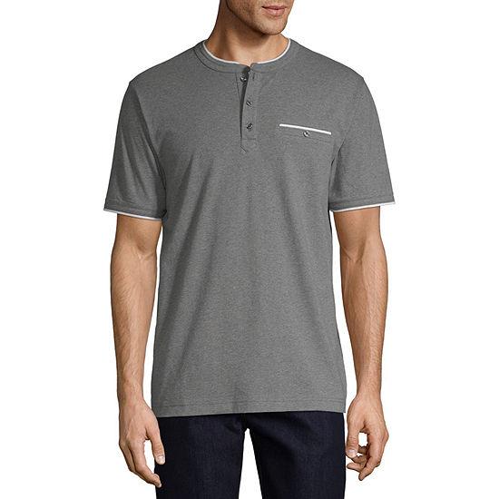 Claiborne Mens Short Sleeve Stretch Henley Shirt