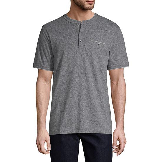 Claiborne Mens Short Sleeve Henley Shirt