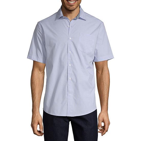 Claiborne Mens Short Sleeve Striped Button-Front Shirt