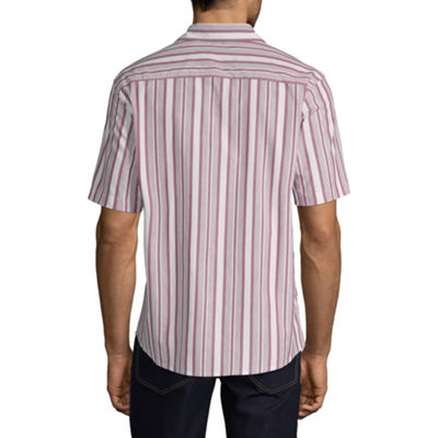 Claiborne Mens Short Sleeve Striped Button-Front Shirt