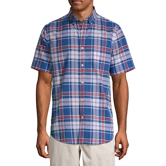 St. John's Bay Mens Short Sleeve Striped Button-Front Shirt