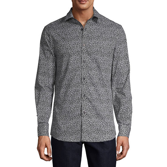 Axist Mens Long Sleeve Floral Button-Front Shirt