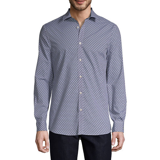 Axist Mens Long Sleeve Geo Linear Button-Front Shirt