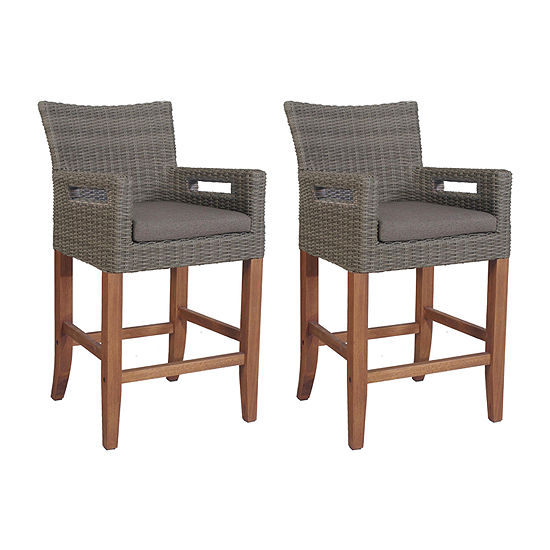 Outdoor Interiors Counter Height Light Grey Wicker And Eucalyptus 2-pc. Patio Bar Stool