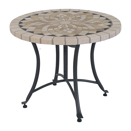 Outdoor Interiors Spanish Marble Accent Patio Side Table