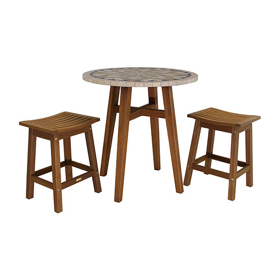 Outdoor Interiors Counter Height Marble Table With Saddle Stools 3-pc. Patio Bar Set