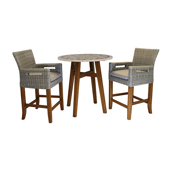 Outdoor Interiors Counter Height Marble Table With Light Grey Wicker Chairs 3-pc. Patio Bar Set