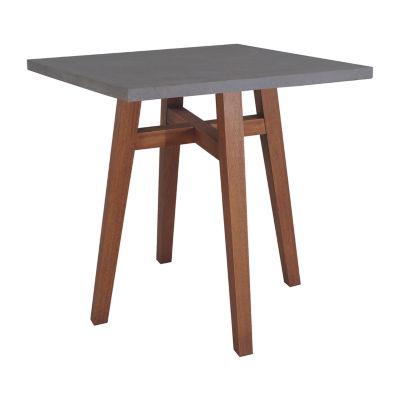 Outdoor Interiors Square Counter Height Composite Top & Eucalyptus Table Patio Bar Set