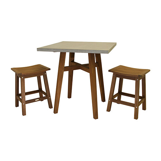 Outdoor Interiors Counter Height Square Composite Table With Saddle Stools 3-pc. Patio Bar Set