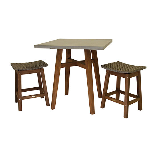 Outdoor Interiors Counter Height Square Composite Table With Wicker Saddle Stools 3-pc. Patio Bar Set