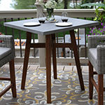Outdoor Interiors Counter Height Square Composite With Light Grey Wicker Chairs 3-pc. Patio Bar Set