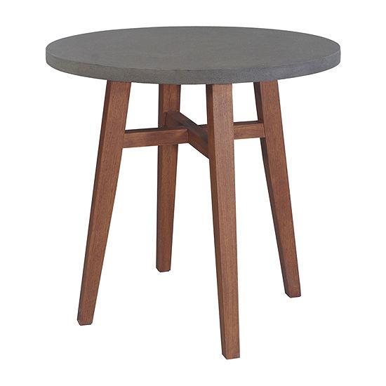 Outdoor Interiors Round Counter Height Composite Top & Eucalyptus Table Patio Bar Set