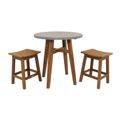 Outdoor Interiors Counter Height Round Composite Table With Saddle Stools 3-pc. Patio Bar Set