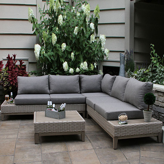 Outdoor Interiors Antique Stain Eucalyptus & Light Beige Wicker Contemporary 4-pc. Patio Sectional