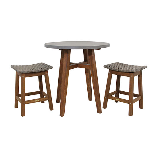 Marvelous Outdoor Interiors Counter Height Round Composite Table With Grey Wicker Saddle Stools 3 Pc Patio Bar Set Frankydiablos Diy Chair Ideas Frankydiabloscom
